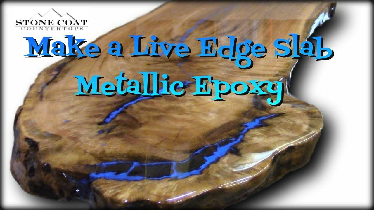 Live Edge Slab Table, How To Coat And Finish With Blue Metallic! Short  Version