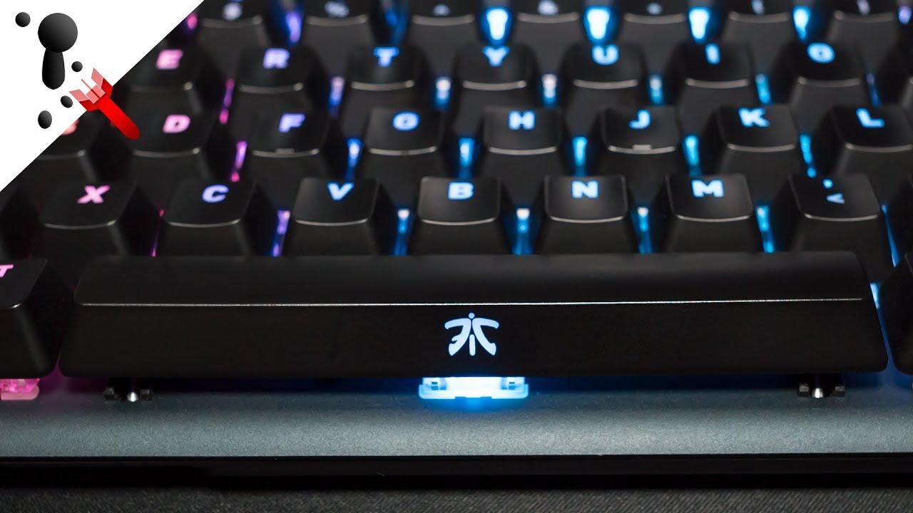 Fnatic miniSTREAK Pro Gaming Mechanical Tenkeyless esports Keyboard Cherry MX Silent Red Switches, Multi-Color RGB Lighting, Ergonomic Wrist Rest, Programmable ES-Layout