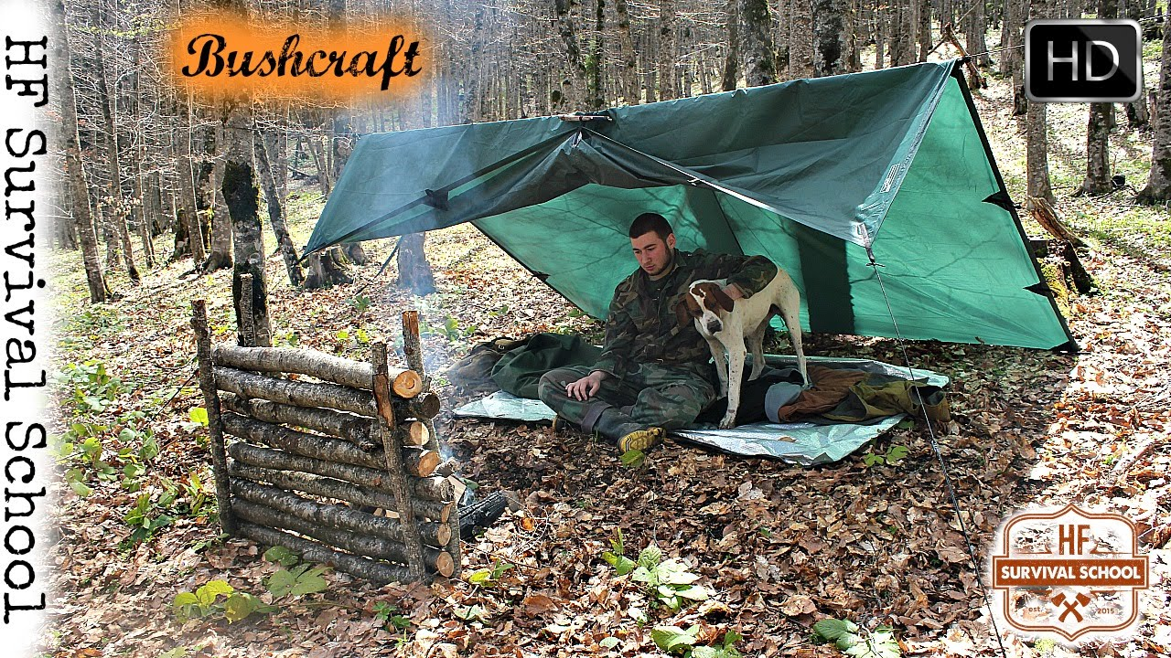 Solo Bushcraft Overnight  Tarp Shelter , Cooking