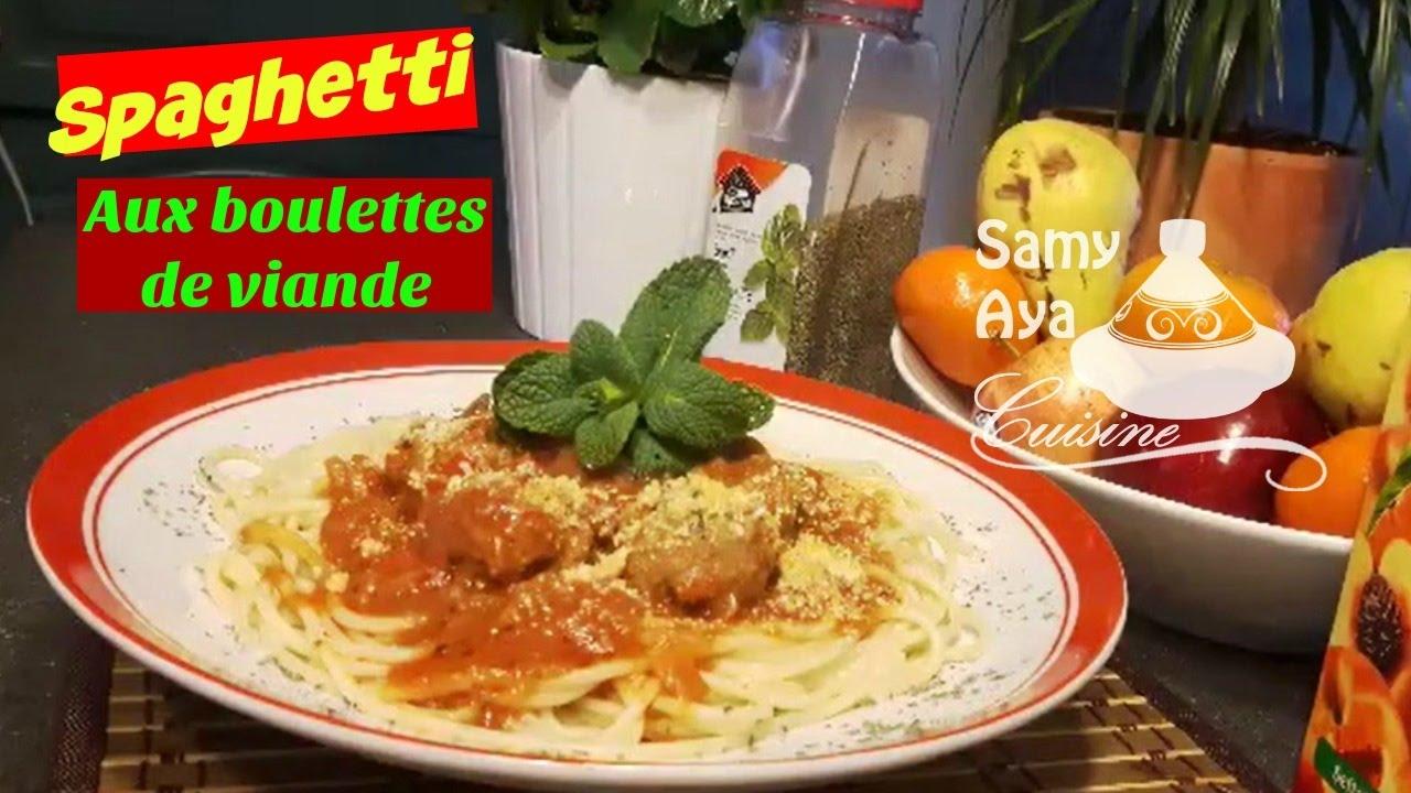 Spaguetti aux boulettes de viande p te aux boulettes de viande hach e en sauce tomate youtube - Boulette de viande en sauce ...