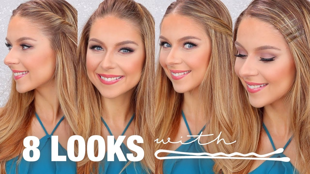 8 hairstyles using bobby pins tutorial - youtube