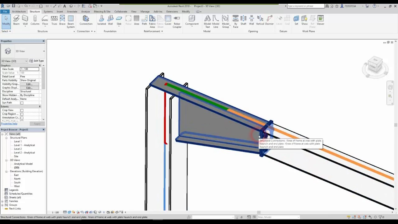 revit 2018 and advance steel 2018 steel connection [ 1280 x 720 Pixel ]
