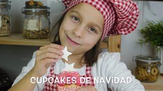 Cupcakes de Navidad, con frosting de fresa y cocina con niños
