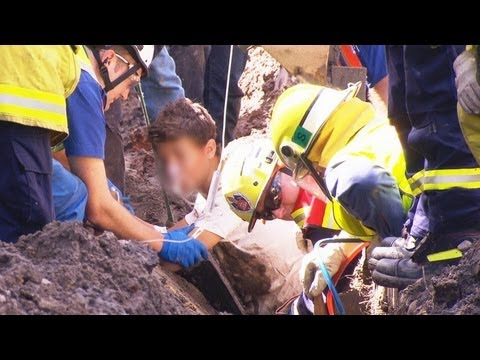 Teenager rescued after being trapped under concrete slab in Earlwood