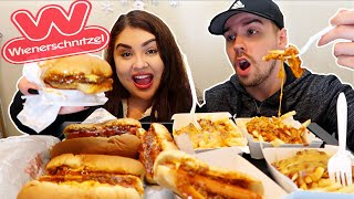 CHEESY CHILI CHEESE FRIES & CHILI CHEESE DOGS | WIENERSCHNITZEL MUKBANG