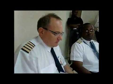 Ghana : Pre flight briefing for Africa World Airlines flight to Kumasi