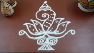 Flower sangu kolam || Lotus muggulu || Saturday Rangoli