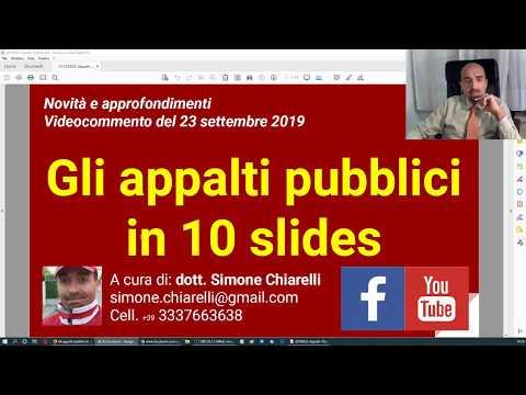 Gli appalti pubblici in 10 slides (23/9/2019)