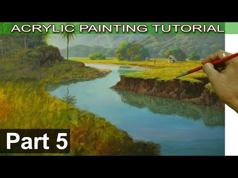 Acrylic Landscape Painting on Bigger Canvas | Water Reflections in River and Houses | Part 5