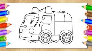 Робокар Поли - Учимся рисовать Эмбер - Раскраска - Машинка скорой помощи - Мультик