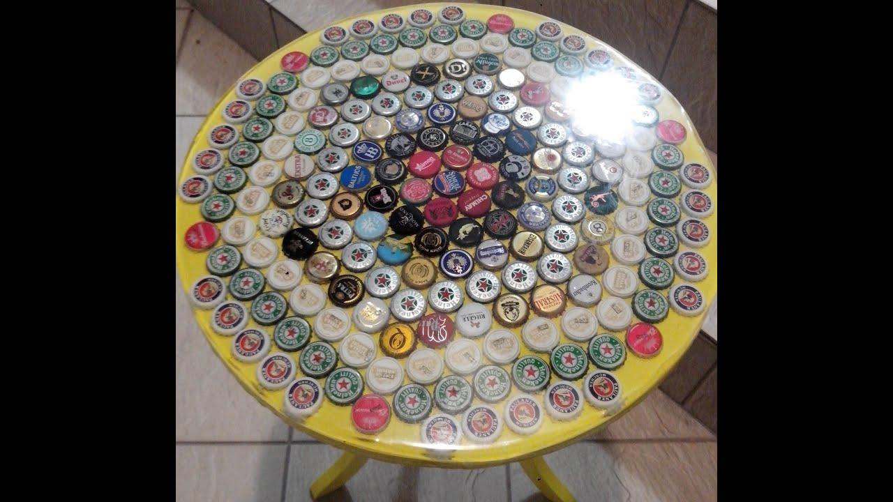 Artesanato Cobre Bolo Passo A Passo ~ Projeto finalizado de mesa resinada com tampinhas YouTube