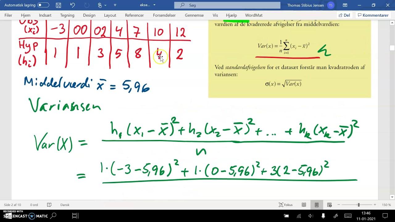 1k 2020 21 v06 deskriptiv statistik ugrupperet statistiske deskriptorer del1 varians og spredning