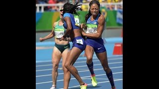 U.S. women's 4x100 relay team dropped the baton after Allyson Felix collided with another runner