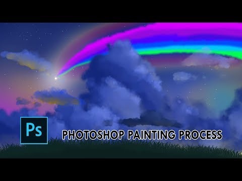 Photoshop Landscape Painting Process (With Using a Mouse)