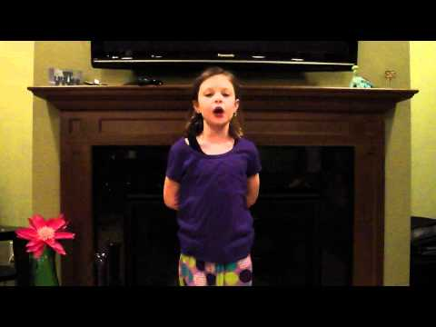Girl sings the 50 states in alphabetical order!