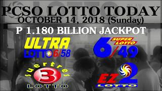 Lotto Result Today, October 14, 2018 (Sunday) - PCSO LOTTO TODAY