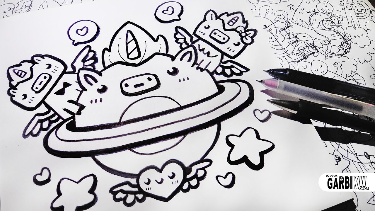 Unicorn planet how to draw kawaii doodles by garbi kw for How to make doodle
