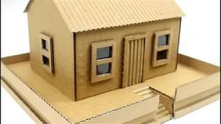 كيفية عمل  منزل من كرتون خطوة بخطوة ( كيفية جعل منزل من الورق المقوى )