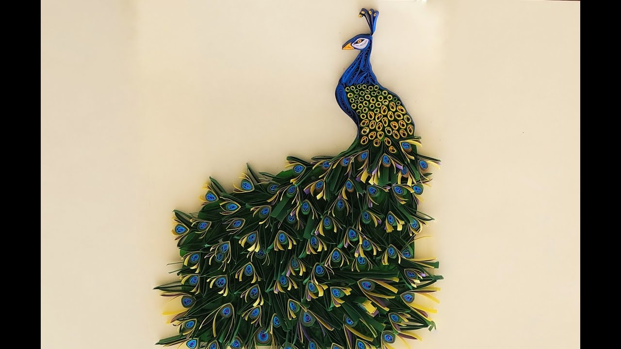 Papercraft paper quilling peacock