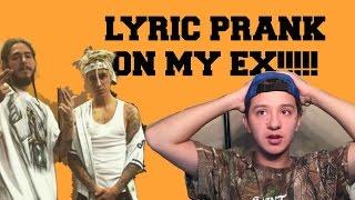 deja vu by post malone ft justin bieber lyric prank on ex
