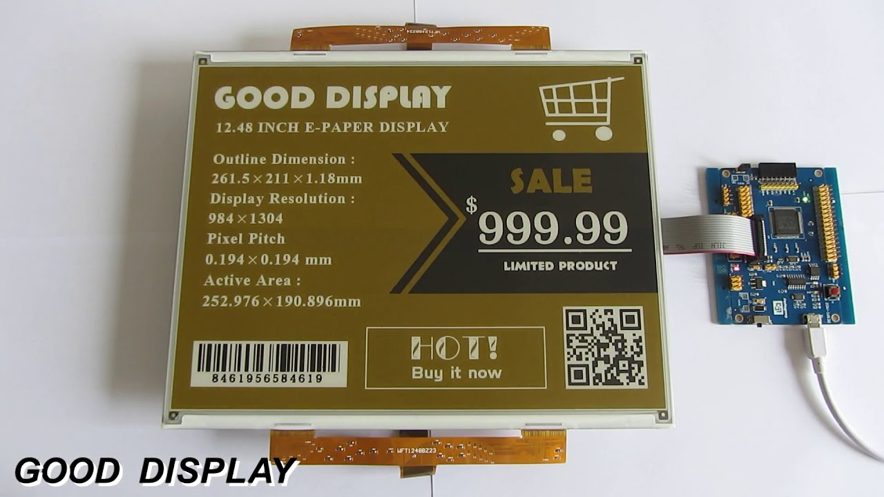 12 48 inch Large big e-paper display module three colors yellow e-ink  screen panel