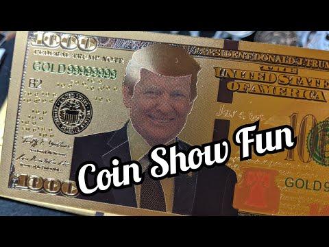 Coin Show Fun Plus A Flash Sale.  Gold Trump Dollars Plus A 1921 Peace Silver Dollar.