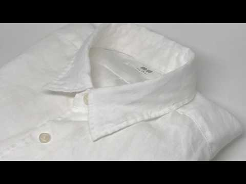 Uniqlo Men Premium Linen Long Sleeve Shirt White【4K】