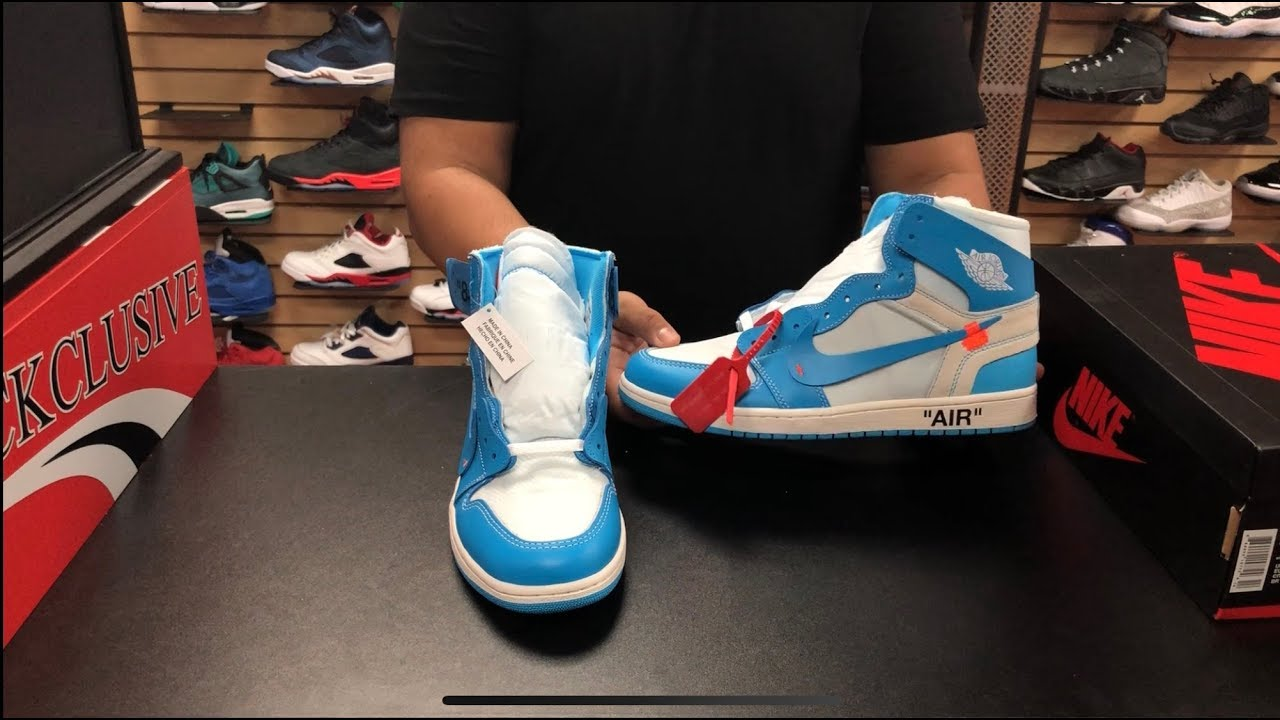 b6a4185c67fe FIRST LOOK NIKE AIR JORDAN RETRO 1 OG HIGH X OFF WHITE UNC IN HAND AND ON FOOT  REVIEW