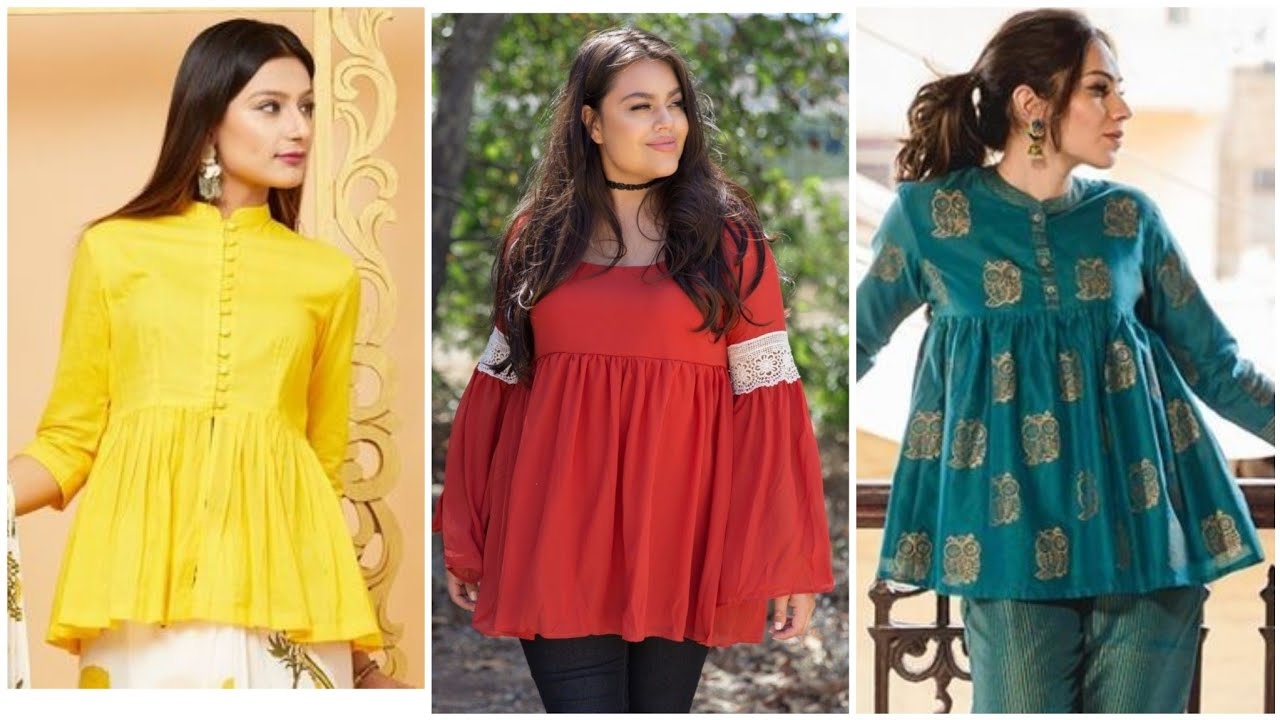 Casual Wear Stylish Peplum Top/tunic top & Short kurti Style For mid Summer 2020