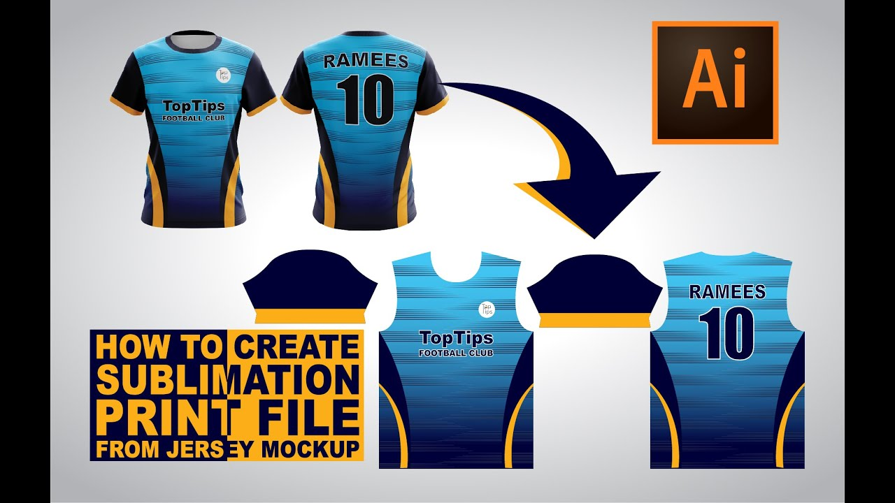 Creating Sublimation Print File From A Jersey Mockup Adobe Illustrator Tutorials Youtube