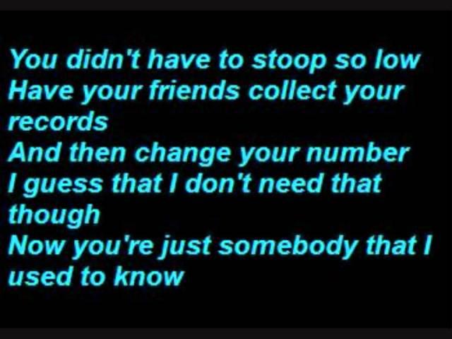 Gotye Somebody That I Used To Know Lyrics Chords Chordify