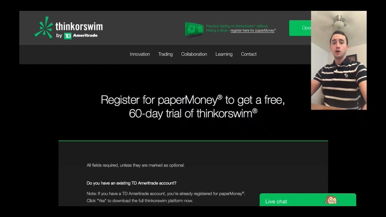 ThinkorSwim by TD Ameritrade: How to Create an Account