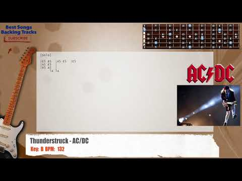 Thunderstruck - AC/DC Guitar MAIN RIFF/SOLO Backing Track with chords and lyrics