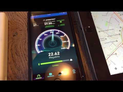 Speedtest London LTE Three UK Network on iPhone 7 Plus      speed