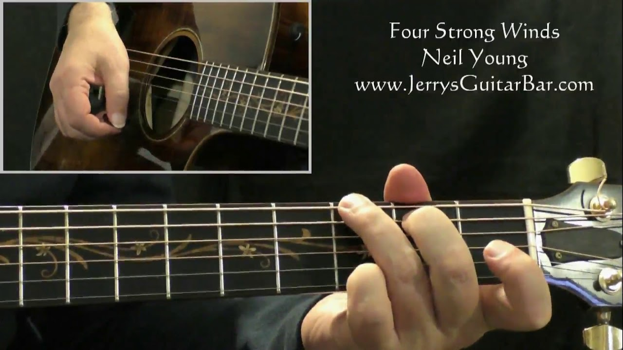 How To Play Neil Young Four Strong Winds Intro Only Youtube