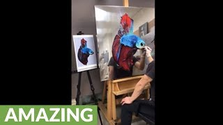 Artist renders spectacular oil painting on stainless steel surface