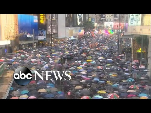 Hong Kong protest continues regardless of weather conditions