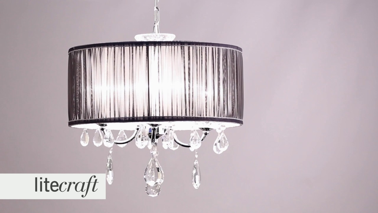 L\'amour 4 Light Chandelier in Pleated Shade - Grey | Litecraft ...