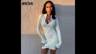 Aproms сексуальное ребристое трикотажное черное облегающее мини платье женские весенние яркие цвета