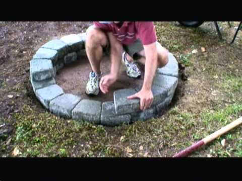 how to build a fire pit with concrete pavers youtube. Black Bedroom Furniture Sets. Home Design Ideas