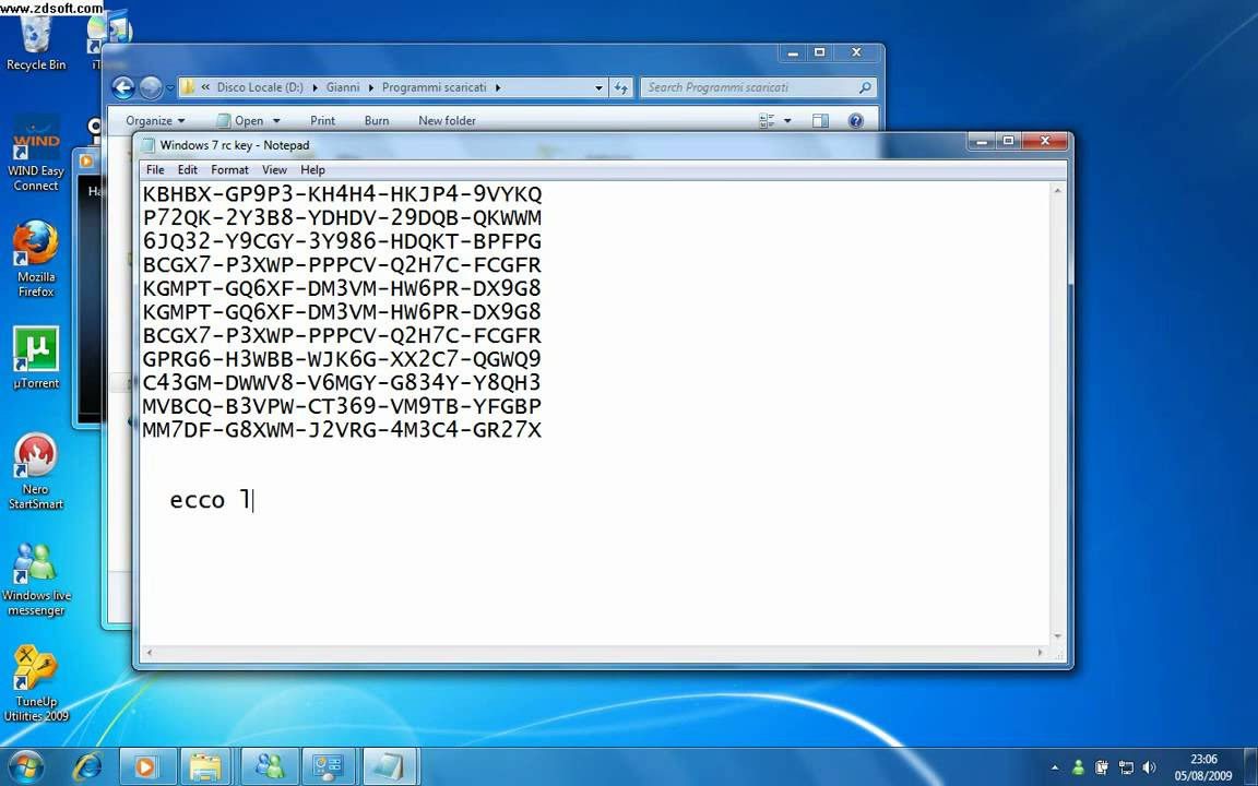Windows 07 Product Key Of Windows 7 7600 Attivato Youtube