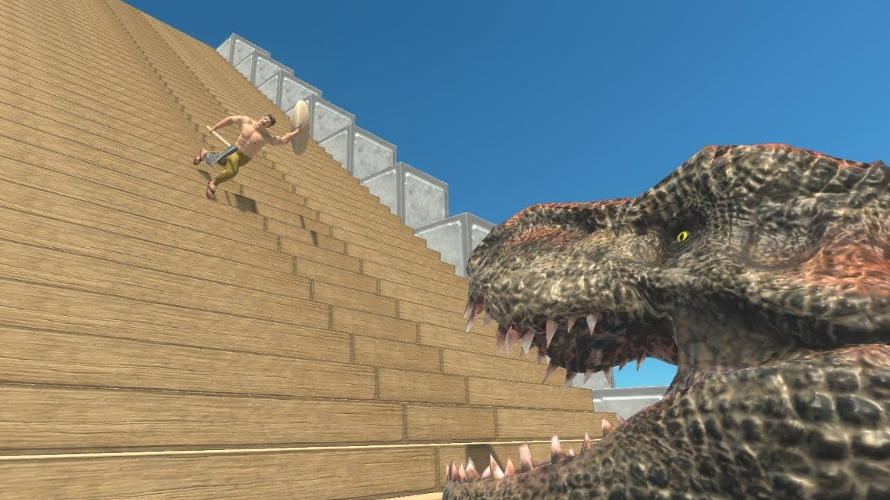 Staircase Sliding into T-REX Titans Mouths Animal Revolt Battle Simulator
