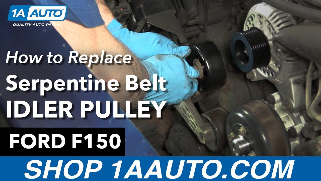 how to replace serpentine belt idler pulley 97 01 ford f150 [ 1280 x 720 Pixel ]