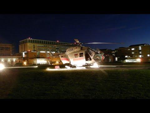 [HD] Air Ambulance 02 Offshore Hubschrauber tiefer riskanter Nachtstart übers Klinikum,