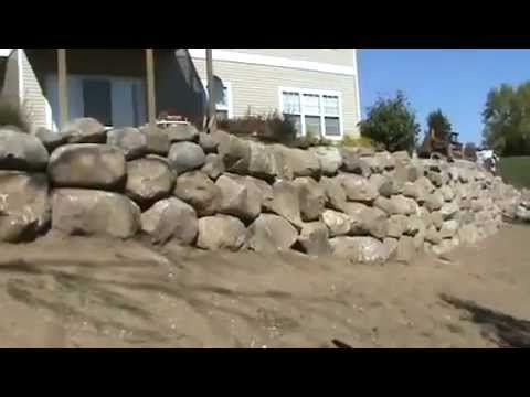 Landscaping Boulder Wall Installation Youtube