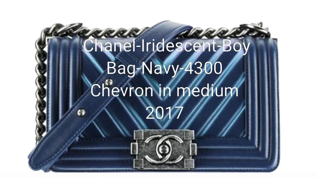 987556e8bb4b CHANEL Chevron Embossed Boy Dark Blue Iridescent Rainbow and Chanel metallic  blue card holder REVIEW