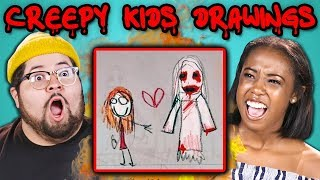 10 CREEPY KIDS DRAWINGS w/ Adults (React)