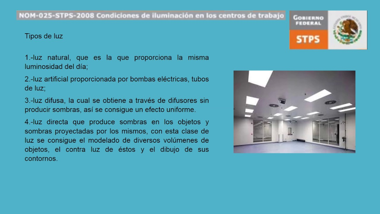 Nom 025 stps condiciones de iluminaci n en los centros de for Centro de trabajo oficina