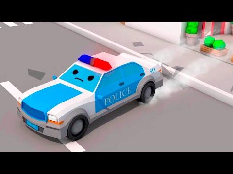 La Voiture de police Bleu et - Dessin animé français - Drôles Voitures